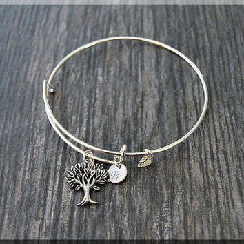 Silver Family Tree Charm Expandable Bangle Bracelet, Adjustable Bangle, Stacking Charm Bracelet, Personalized Family Charm Bangle