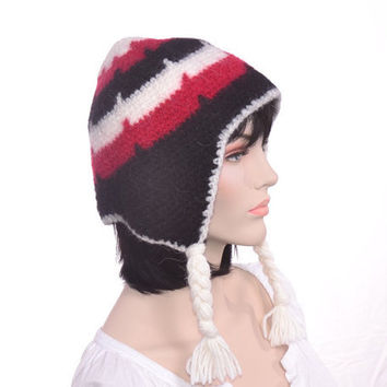 Men's Winter Hat Earflap Hat Felted Red Black White with Braids Llama Chullo