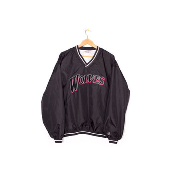 WOLVES patch windbreaker jacket - vintage - rawlings baseball - sewn logo - black & red - pullover - athletic - sportswear -  large