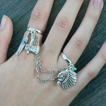 Tribal chained double ring native american inspired double slave ring in fantasy tribal hipster boho gypsy fusion  style