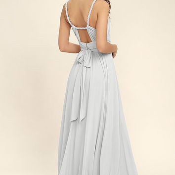 Carte Blanche Light Grey Maxi Dress
