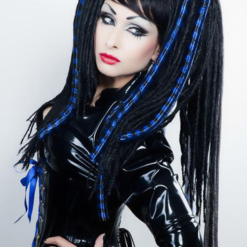 DREAD FALLS Black Blue gothic Cyber locks goth Lolita vamp dreads hair wig fetish Headrazor