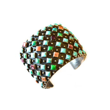 Native American Geometric Stud Cuff