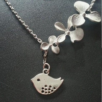 NT0198 Ancient silver necklace lucky flower bird