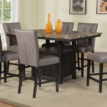 7 pc Maribell collection light espresso finish wood faux marble top counter height dining table set