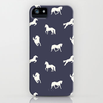Horse Print (Navy Slate) iPhone & iPod Case by Jacqueline Maldonado