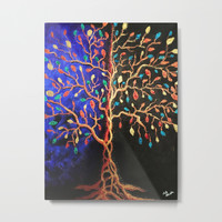 Golden Tree Dust Metal Print by ecreativeartdesign