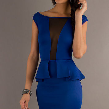 Blue Sleeveless Front Cut-Out Mesh Peplum Mini Dress