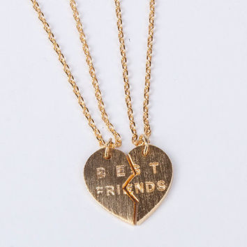 Best friends necklaces set two gold plated necklaces silver lated friendship necklace gift for friend Sister Jewelry birthday gift