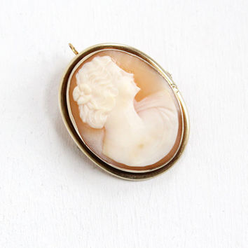 Antique Sterling Silver Art Deco Carved Shell Cameo Pendant Brooch - Vintage 1930s Woman Silhouette Pin Jewelry