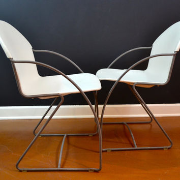 Vintage Cantilever Chrome Chairs, White Stackable Chairs, Pair of Chrome Chairs, 1970's Stacking Chairs, Eames Era, Danish Modern