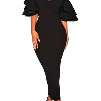 Black Tiered Sleeve Cold Shoulder Maxi Bodycon Dress