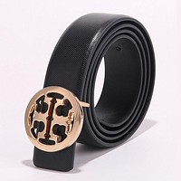 Tory Burch Trending Men Woman Popular Smooth Buckle Leather Belt Black