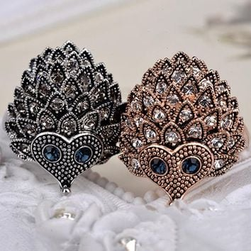 2017 Fashion Women's Wedding Party Birthday Animal Jewelry Vintage Bohemian Style Cute Rhinestone Hedgehog Ring Gift