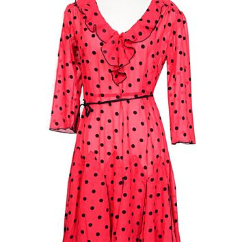 Louise Flapper Dress In Red and Black Polka dot