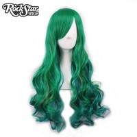 Rockstar Wigs 7Colors Long Natural Wave Ombre Green Synthetic Hair Cosplay Wigs