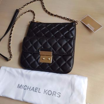 NWT Michael Kors Sloan Medium Quilted Swingpack Crossbody Bag - BLACK