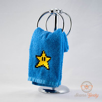 Super Mario Bros. Star Inspired - Embroidered Hand Towel