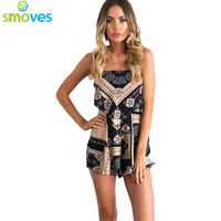 Smoves Strappy Strapless Backless Summer Floral Print Womens Playsuit Bohemian Poplin Jumpsuit Beach Romper Overalls New 2017