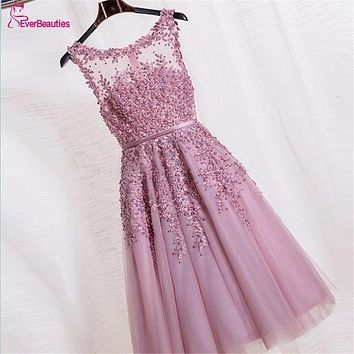 Short Evening Dresses Robe De Soiree Pink Lace  Embroidery with Beaded  Backless Fashion Party  Prom  Dress