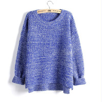 Women Knitted Blue and White Sweater Weather