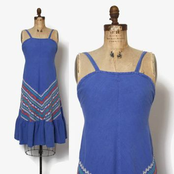Vintage 70s Guatemalan DRESS / 1970s Boho Chevron Woven Cotton Sun Dress