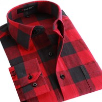 Men Flannel Plaid Shirt Cotton Spring Autumn Casual Long Sleeve Shirt Soft Comfort Slim Fit Styles