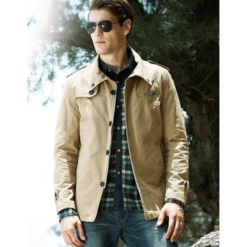 Men's Fall Fashion Field Coat Casual Outerwear Jacket Military Jacket