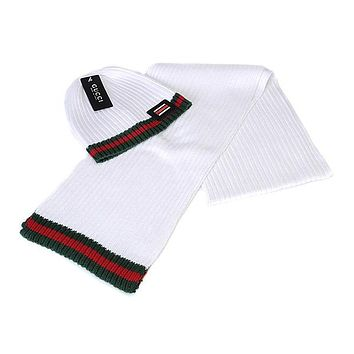Perfect Gucci Women Men Winter Knit Hat Cap Scarf Set Two-Piece 5756fdc5cd57