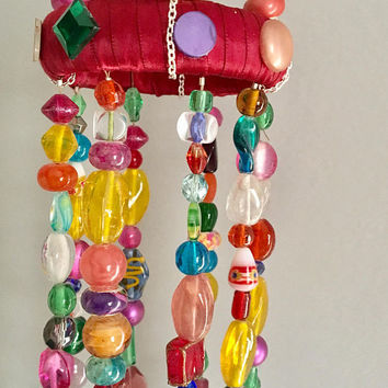 Boho Beaded Mobile, Recycled Jewelry Mobile, Repurposed Wind Chimes, Sun Catcher, Upcycled Garden Art, Hippie Gypsy Home Decor, Window Decor