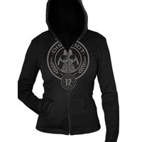 "The Hunger Games Movie Basic Jrs. Hoodie ""District 12 Seal""  medium"