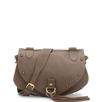 See by Chloe Collins Leather Tassel-Flap Crossbody Bag, Taupe