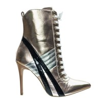 Akira142 Lace Up High Heel Sneaker Above Ankle Bootie, Color Block & Pointed Toe