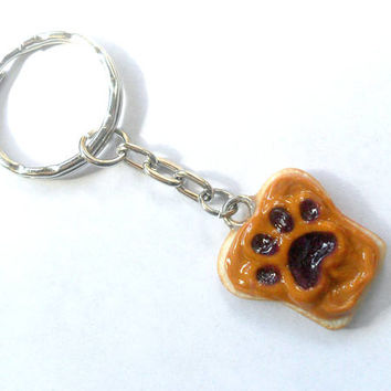 Peanut Butter and Jelly Dog or Cat Paw Keychain, Choose To Customize With Pet's Name on Back :)