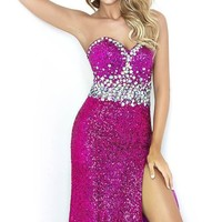 Embellished Slit Gown by Splash by Landa Designs