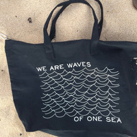 Black Canvas Zippered Tote with Pencil Waves Design
