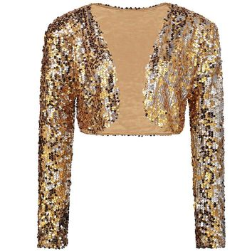 c77f4be3 Trendy Sparkly Sexy Women Sequin Cardigan Jacket Coat Long Sleev