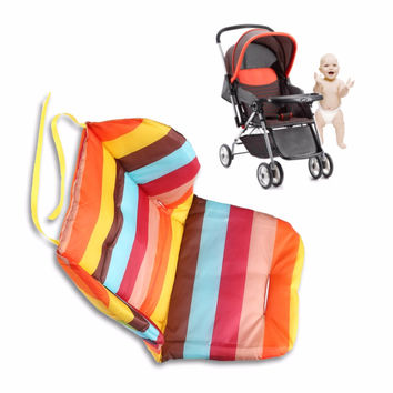 Rainbow Color Soft Thick Pram Cushion Chair BB Car Umbrella Cart Seat Pad Cotton Striped Liner Infant Stroller Mat For Baby Kids