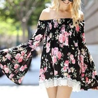 Extra Mile Floral Off Shoulder Bell Sleeve Blouse