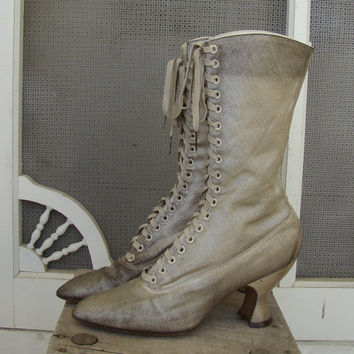 Edwardian Boots- French Louis Heel- Metallic Silver Fabric- 1910's- Antique Wedding Shoes in Silver & Gold