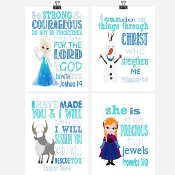 Christian Frozen Nursery Decor Art Print Set of 4 - Princess Elsa, Anna, Sven and Olaf - Multiple Sizes