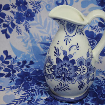 Vintage Blue Onion Floral Mini Pitcher Japan Ceramic