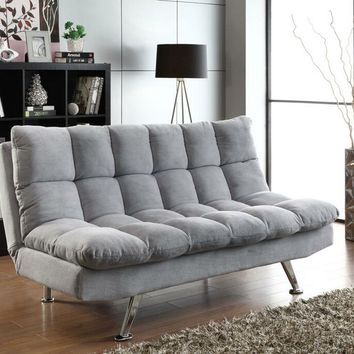 Light grey teddy bear fabric upholstered folding sofa / futon bed with tufted accents