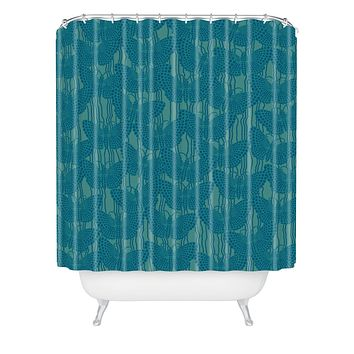 Ruby Door Butterflies And Pearls In Blue Shower Curtain