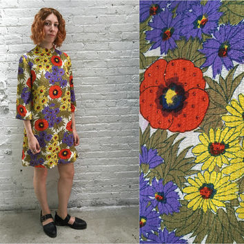 vintage 60s mod floral dress / flower power / 1960s a line trapeze tent dress