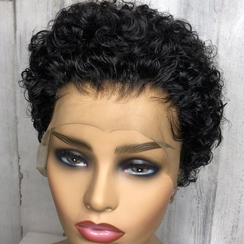 Nia Tight Curl Lace Frontal Wig 13x4 With 180% Density| Nia| Tight Curly Hair-Custom
