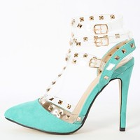 Liliana Rubik-5 Clear T Strap Studded Pumps | MakeMeChic.com
