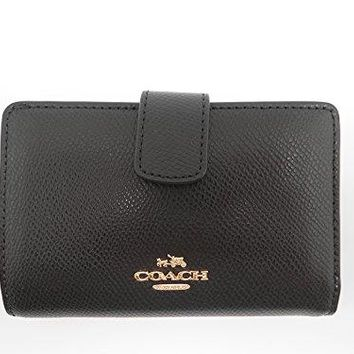 Coach F53436 Cross Grain Leather Medium Corner Zip Wallet and Coin Purse, Black