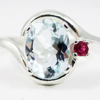 Aquamarine Oval and Ruby Accent Ring, 925 Sterling Silver, March Birthstone Ring, Ruby Accent Ring, Two Stone Ring, Natural Blue Aquamarine