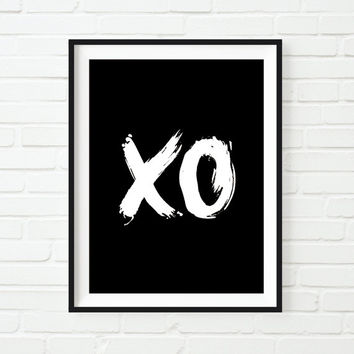 "Typography Art Poster Print ""XO"" Black and White Hugs & Kisses Home Decor Wall Decor Hand Paint Handwriting Style Fall Trends Autumn Trends"